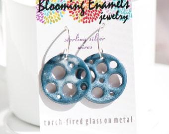 Funky Movie Reel Enamel Earrings in Gray Blue and White, Copper Glass Enamel, Handmade Sterling Silver Ear Wires, Torch Fired Enamel Jewelry