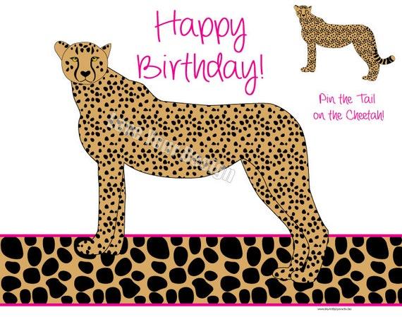 Cheetah Pin the Tail on the Cheetah Birthday Game INSTANT – Cheetah Birthday Invitations