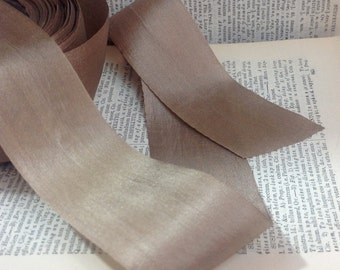 32 yard roll of khaki taupe warm grey silk ribbon