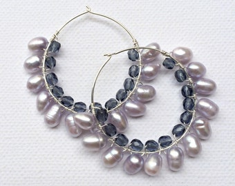 Brides and bridesmaids Fresh water purple Pearls wire wrapped earrings in Sterling Silver hoops