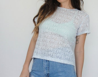 Vintage 90s Light Blue Sheer Lace Cropped Tee