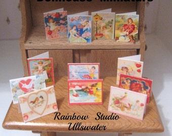 dollhouse victorian inspired  valentine cards x 12 dollhouse display lakeland artist new