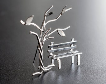 Statement brooch pin, sterling silver broach, unusual brooch, greek jewelry, gift for women, wedding brooch, womens gift