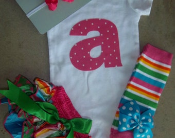 Baby Girl Outfit, Birthday Outfit, Personalized Initial, Satin Bloomers, Onesie, and Leg Warmers Set, diaper cover