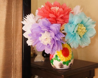 Large Tissue Paper Flower with Pearl Stamen Choose Your Own Colors- Ainsley