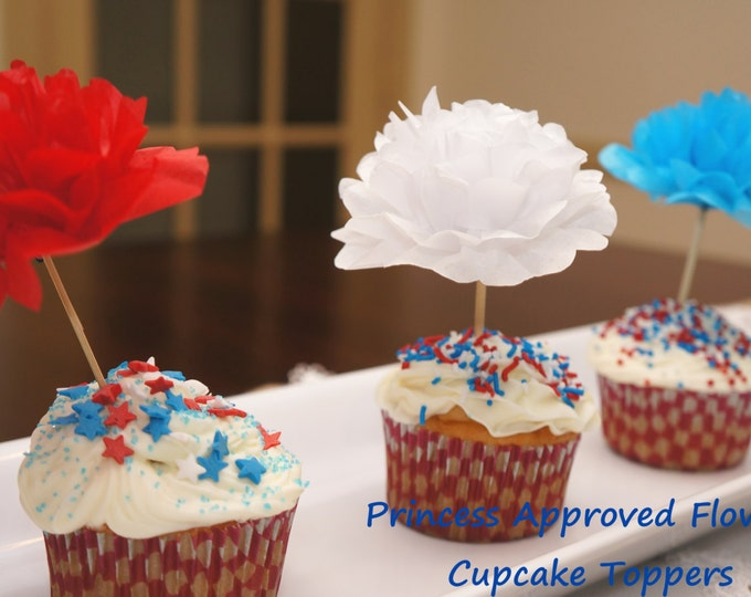 July 4th Theme Paper Flower Appetizer/Cupcake Picks (1 dozen)
