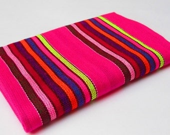 Mexican Fabric, aztec fabric, tribal fabric by the yard,colorful tribal fabric by the yard, orange pink colorful stripes