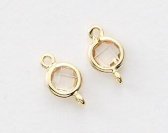 2042051 / Light Peach / 16k Gold Plated Brass Framed Glass Connector 5.4mm x 9.6mm / 0.2g / 2pcs