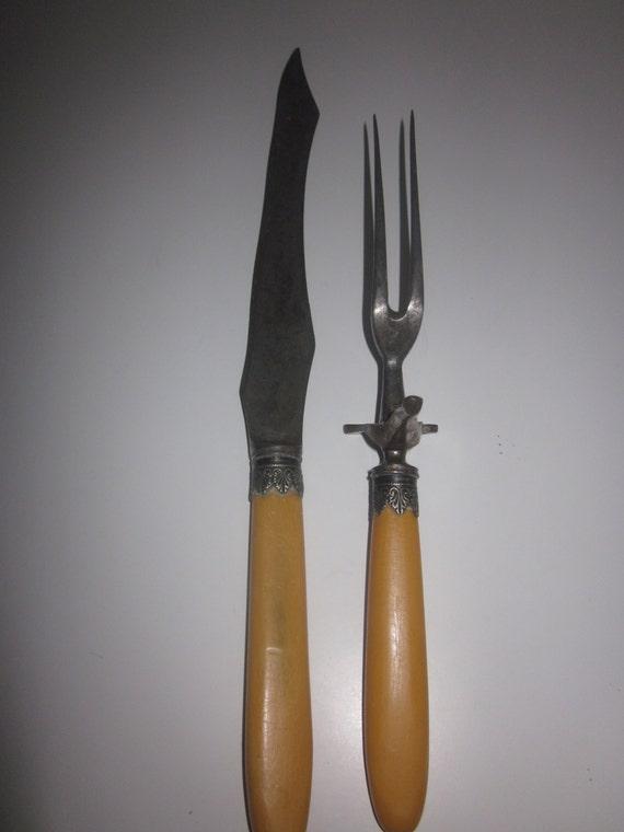 Vintage carving knife and fork