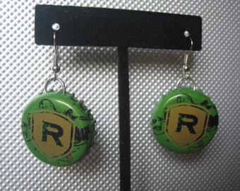Recycled Red's Hard Cider Bottle Cap Upcycled Bottlecap Earrings