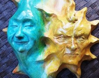 Sun & Moon Cast Stone Wall Art Sculpture for Home, Garden, Gift