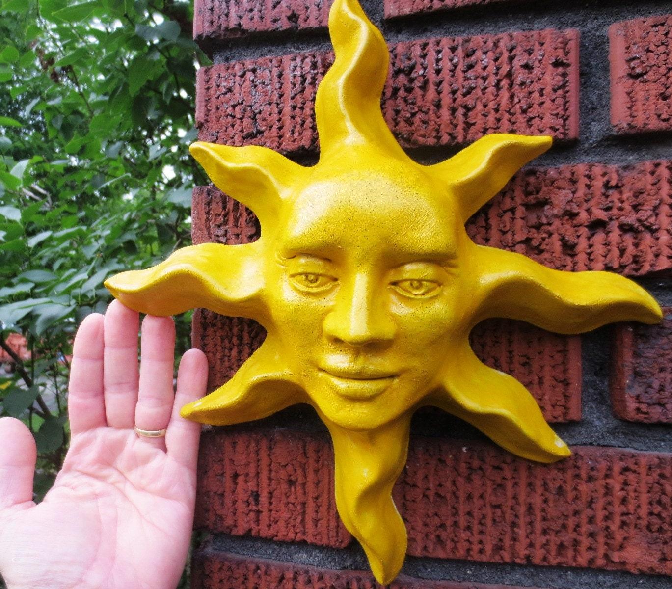Yellow Sun Wall Decor : Handmade yellow sun face sculpture wall art for home by