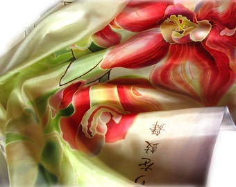"""Hand painted silk scarf   """"Orchid with bamboo"""" .   Made to order."""