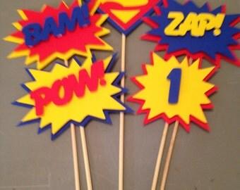Superman Centerpiece, 5 pc, Superhero party, Superman Party, Superman Birthday Party