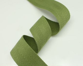 "5 Yards of Olive Color 15mm (5/8"") or 25mm (1.0"") Cotton Twill Herringbone Ribbon Fabric Ribbon Tape Vintage Color trim - Annielov Craft"