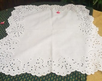 Victorian White Tea Tablecloth Small French White Eyelet Lace Handmade Hand Embroidered Cut Outs White Cotton