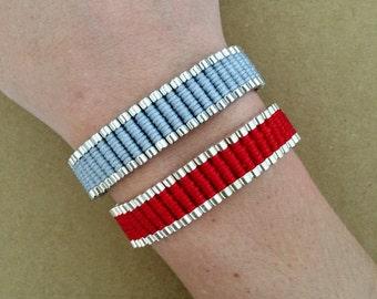 Links Friendship Red, White, Black and Gray Bracelet - Braid Bracelet, Woven Bracelet, One Direction Bracelet