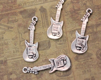 10 Guitar Charms Music Instruments Pendants Antiqued Silver  10 x 27mm