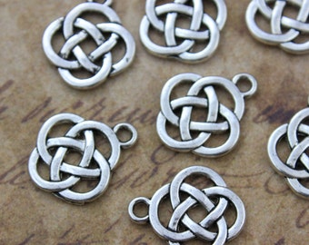 10 Celtic Knot  Charms Celtic Knot Pendants Antiqued Silver Tone Double Sided 15 x 15 mm
