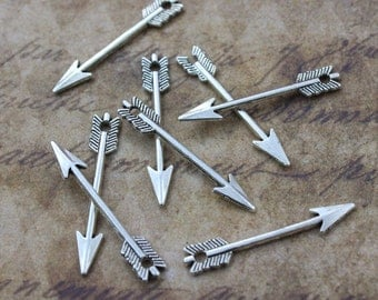 20 Arrow Charms Arrow Pendants Antiqued Silver Tone Double Sided  5 x 30 mm