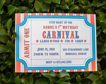 Carnival Themed  Birthday Party Invitation