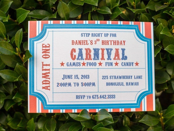 Carnival Themed  Birthday Party Invitation