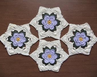 Cream and Lavendar Star-flower Doily