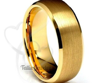 18K Mens or Womens Yellow Gold Wedding Band Ring  7MM Wide  Sizes 4-12  Free Engraving  New