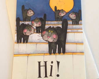 Vintage Halloween Greeting Card by Hallmark - Black Cats in the Alley Under a Full Moon - Unused Cat Card - Halloween Card by Hallmark