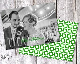 Simple & Preppy - Wedding Thank You Photo Card