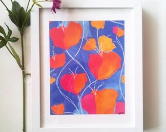 Flower wall Art Print - 8 X 10 wall decor with spring colorful floral art - flower art print - home decor - nursery wall art