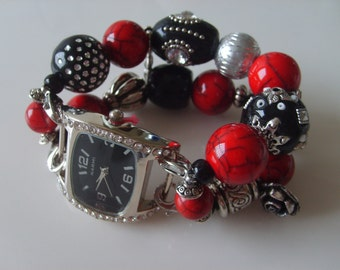 Double Stranded Red & Black Beaded Watch Band Set (118)