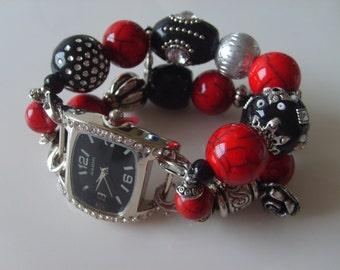 Womens Watch/Womens Red Watch/Beaded Watch/Black Watch/Red Watch Band/ Womens Black Watch Band/Stretch Watch Band/Womens Beaded Watch  (118)