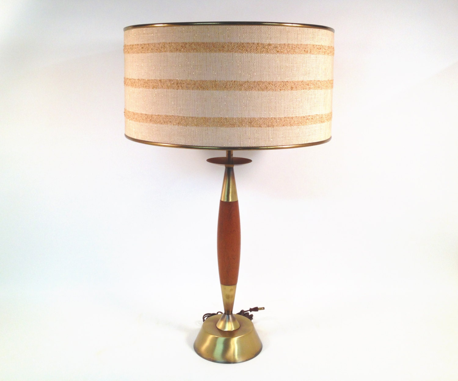 mid century modern table lamp by rembrandt with drum shade and. Black Bedroom Furniture Sets. Home Design Ideas