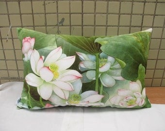 Decorative Velvet Pillow Cushion Cover Water Lily Floral Pillow Lotus Flower Artwork Printed Double Sides