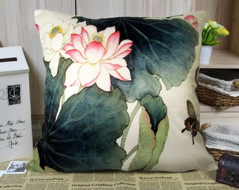 Elegant square velvet cushion cover/pillow cover water lily  Lotus flower design on both sides Floral Pillowcase