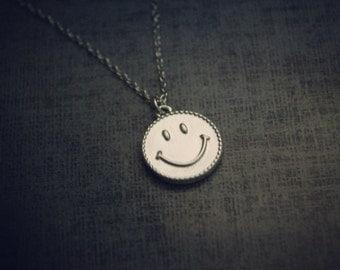 happy smile- bridal, bridemaid, feminine, tiny small face modern simple necklace.