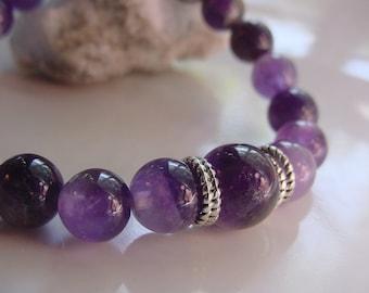 Calming, Stress Relief Bracelet, Amethyst Semi Precious Stones, Meditative Stone, Chakra Helps Focus, Intuition