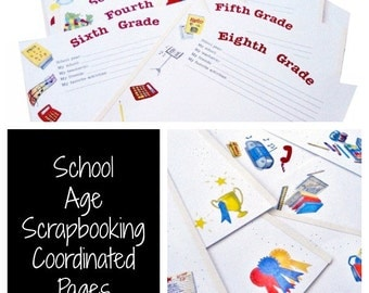 School Theme Scrapbooking Pages, Elementary, Back to School, Finished Edge