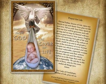 Giver of Life Holy Card / Prayer Card, Pro-life #0016