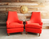 CYBER SALE Pair of Red Vintage Atomic Retro Mid Century Modern Hollywood Regency Club Chairs Arm Chairs with New Upholstery