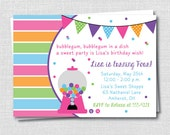 Gumball Sweets Birthday Party Invitation - Sweet Shoppe Birthday - Digital Design or Printed Invitations - FREE SHIPPING