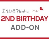 2nd Birthday Invitation Add-On - Extra Name or Different Location for Invitation