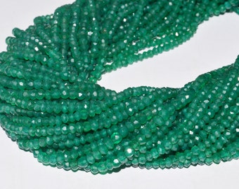 10 Strings AAA Quality Green Onyx micro Faceted 3.5 to 4 mm