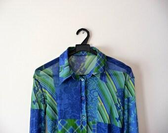 SALE. Cobalt blue blouse. Retro blouse blue and green. Women blouse. Floral print