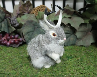 Gray Grey Jackalope Rabbit with Horns Standing Easter Bunny Furry Animal Taxidermy Decor