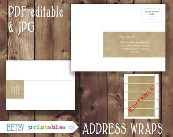 Editable return address, editable Address wraps, kraft paper, Printable PDF envelope wrap labels - Instant Download - 263