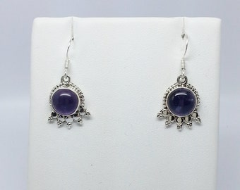 7.37ct Amethyst Round Cabochon Sterling Silver Dangle Earrings