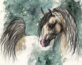 Grey arabian horse, equione art, horse portrait, equestrian,  original ink and watercolor painting