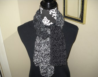 Classic Black / Gray / White Scarf in Bamboo / Silk / Wool Blend